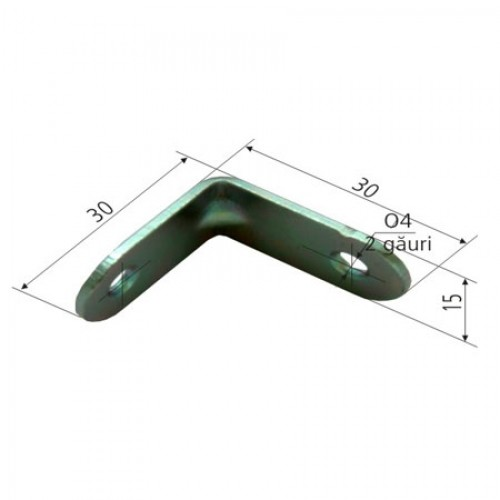 COLTAR METALIC DREPTUNGHIULAR SIMPLU 16/30X30MM