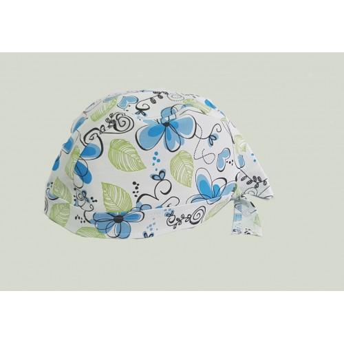 Boneta alba cu floricele blue