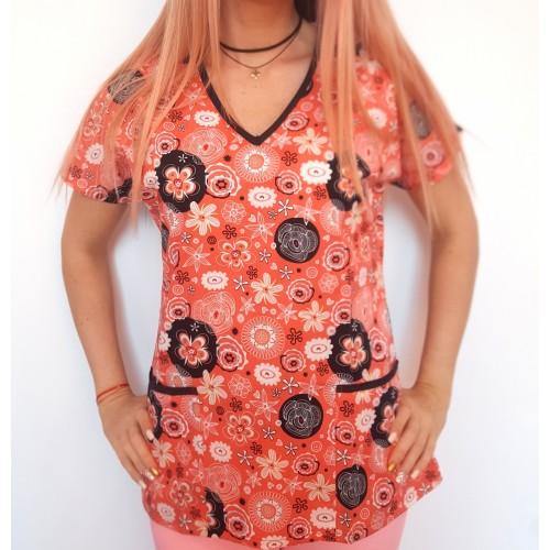 Bluza medicala portocalie cu floricele