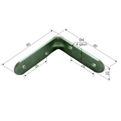 COLTAR METALIC DREPTUNGHIULAR SIMPLU 16/40X40MM