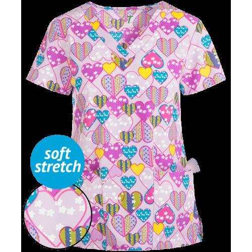 Bluza medicala   Blooming hearts   (GT501BLH)