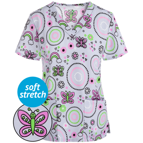 Bluza medicala   Geo hearts butterfly   (GT501GHB)
