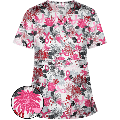 Bluza medicala   Pink ribbon flower   (TS428PIR)