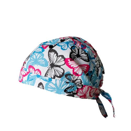 Boneta alba cu fluturasi blue-roz