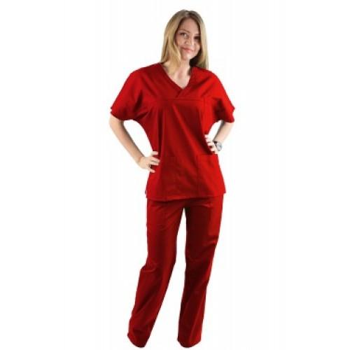 Costum medical rosu - unisex