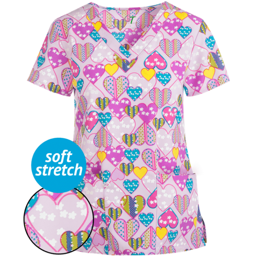 Bluza medicala 'Blooming hearts' (GT501BLH)