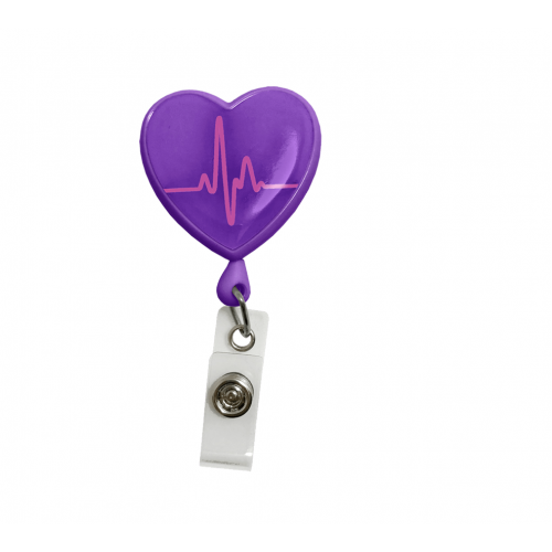 Ecuson retractabil 'Purple EKG Heart'