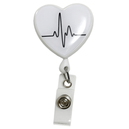 Ecuson retractabil 'White EKG Heart'