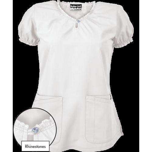 Bluza medicala 'White Rhinestone' (RS538C)
