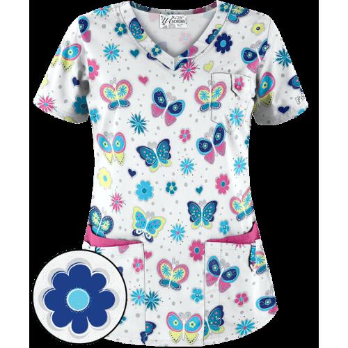 Bluza medicala 'Bodacious Butterflies' (UA638WBU)